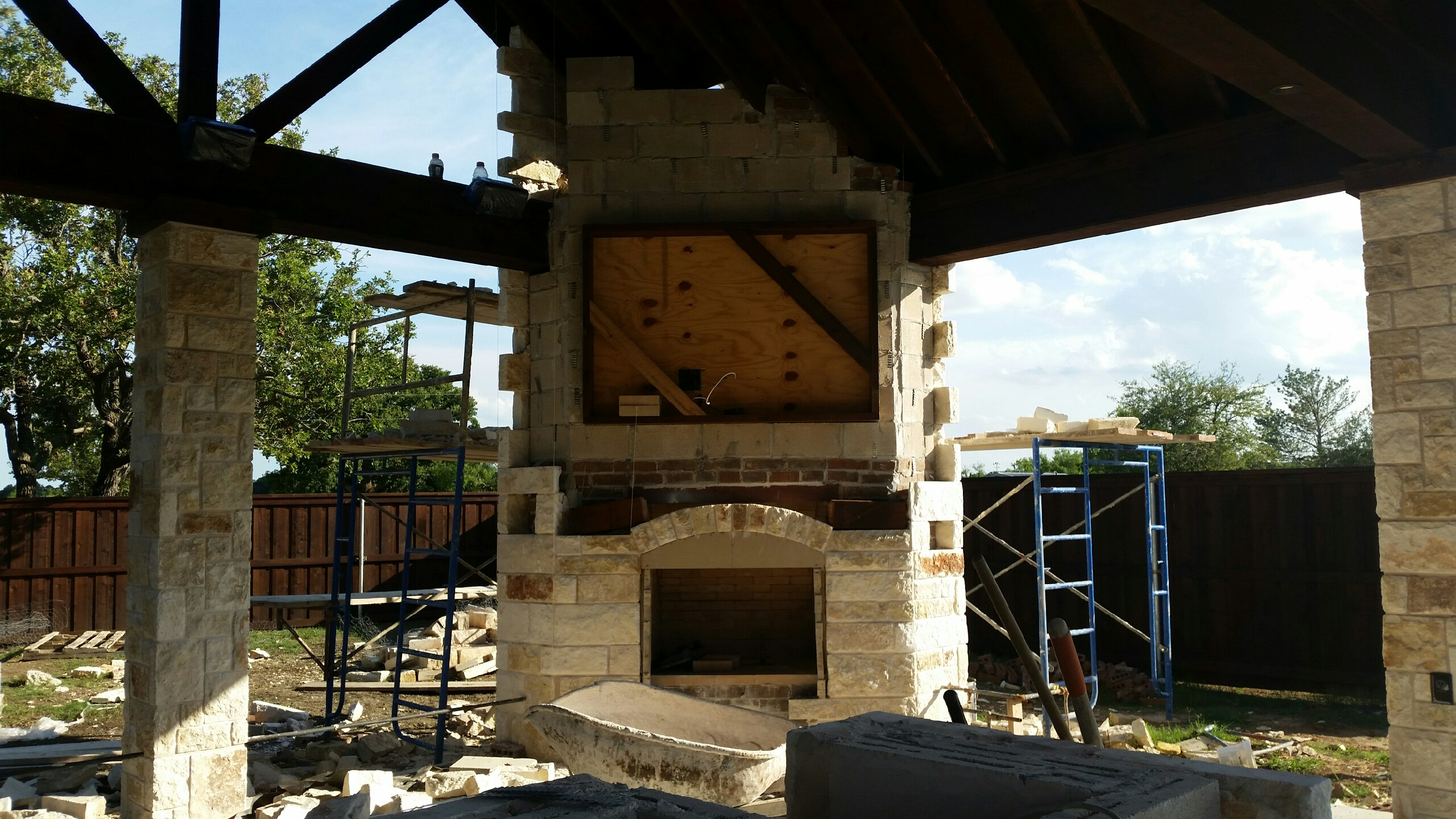 TV Installation above outdoor fireplace